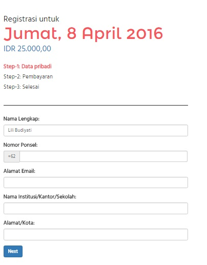 online registration indofest 2016 per day