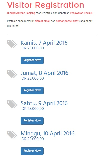 Online registration indofest 2016